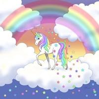 Rainbow unicorn and falling stars Fine-Art Print