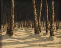 Neve Di Notte Nel Bosco Fine-Art Print