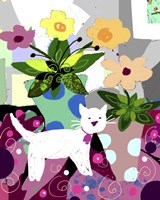 White Kitty And Flowers Fine-Art Print