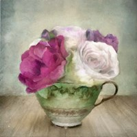 Green Teacup and Roses Vintage Bouquet Fine-Art Print