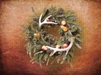 Christmas Wreath with Deer Antlers Fine-Art Print