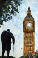 London Big Ben and Sir Winston Churchill Fine-Art Print