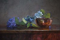 Copper Bowl With Blue Hydrangea Fine-Art Print