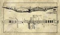 George Washington Bridge Blueprint Industrial Farmhouse Fine-Art Print