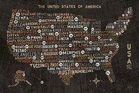 US City Map Black Fine-Art Print