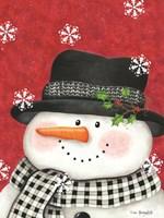 Holly & Black Plaid Snowman Fine-Art Print