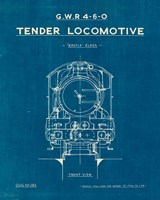 Locomotive Blueprint II Framed Print
