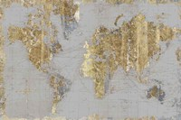 Gilded Map Light Gray Fine-Art Print