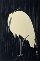 Egret in the Rain, 1925-1936 Fine-Art Print