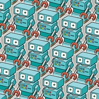 Blue Robo Army Fine-Art Print