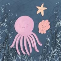 Mermaid and Octopus Navy II Framed Print