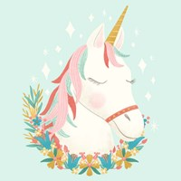 Unicorns and Flowers I Fine-Art Print