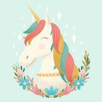 Unicorns and Flowers II Fine-Art Print