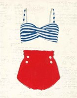 Retro Swimwear IV Newsprint Fine-Art Print