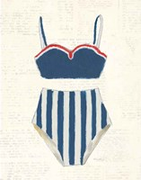 Retro Swimwear III Newsprint Fine-Art Print