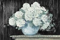 White Hydrangea on Black Crop Fine-Art Print