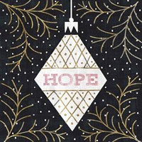 Jolly Holiday Ornaments Hope Metallic Fine-Art Print