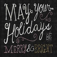 Quirky Christmas Merry and Bright Metallic Fine-Art Print