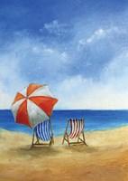 Deck Chairs on Beach Fine-Art Print