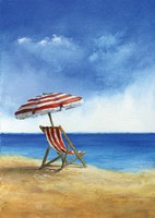 Deck Chairs on Beach II Fine-Art Print