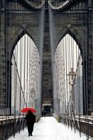 Brooklyn Bridge Meets Red Fine-Art Print