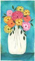 Bright Flowers - Teal Background II Fine-Art Print