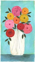 Bright Flowers - Teal Background I Fine-Art Print