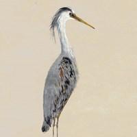 Heron on Tan I Fine-Art Print