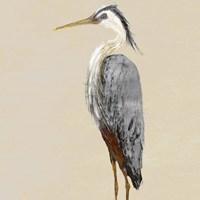 Heron on Tan II Fine-Art Print