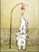 Whimsical Elephants with Red Apple Fine-Art Print