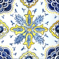 Yellow and Blue Spanish Tile II Fine-Art Print