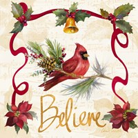 Christmas Poinsettia Ribbon I Fine-Art Print