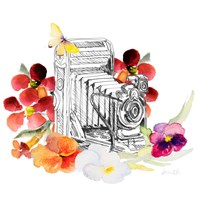 Camera Sketch on Fall Floral I Fine-Art Print