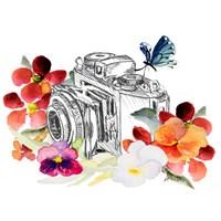 Camera Sketch on Fall Floral II Fine-Art Print