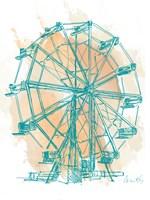 Teal Ferris Wheel I Fine-Art Print
