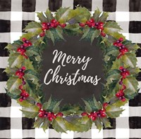Buffalo Plaid Christmas Wreath Fine-Art Print