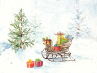 Presents in Sleigh on Snowy Day Fine-Art Print