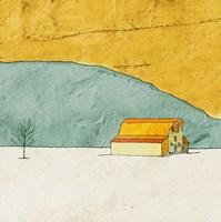 Teal and Yellow Barn Fine-Art Print