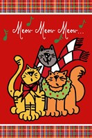 Christmas Cat Jingles on Red Plaid Fine-Art Print