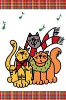 Christmas Cat Jingles on Plaid Fine-Art Print