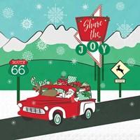 Retro Santa Driving I Fine-Art Print