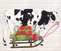 Christmas on the Farm I Cow with Sled Fine-Art Print