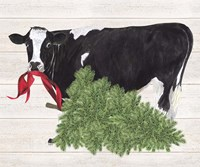 Christmas on the Farm II Cow with Tree Fine-Art Print