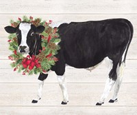 Christmas on the Farm III Cow with Wreath Fine-Art Print