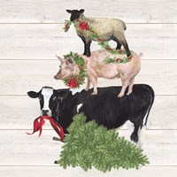 Christmas on the Farm VI Trio Facing left Fine-Art Print
