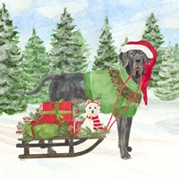 Dog Days of Christmas II Sled with Gifts Fine-Art Print