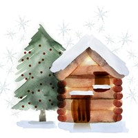 Christmas Hinterland IV Tree & Cabin Fine-Art Print