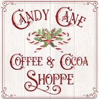 Vintage Christmas Signs I-Candy Cane Coffee Fine-Art Print