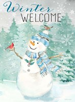 Let it Snow Blue Snowman portrait Fine-Art Print