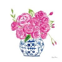Chinoiserie Roses on White II Fine-Art Print